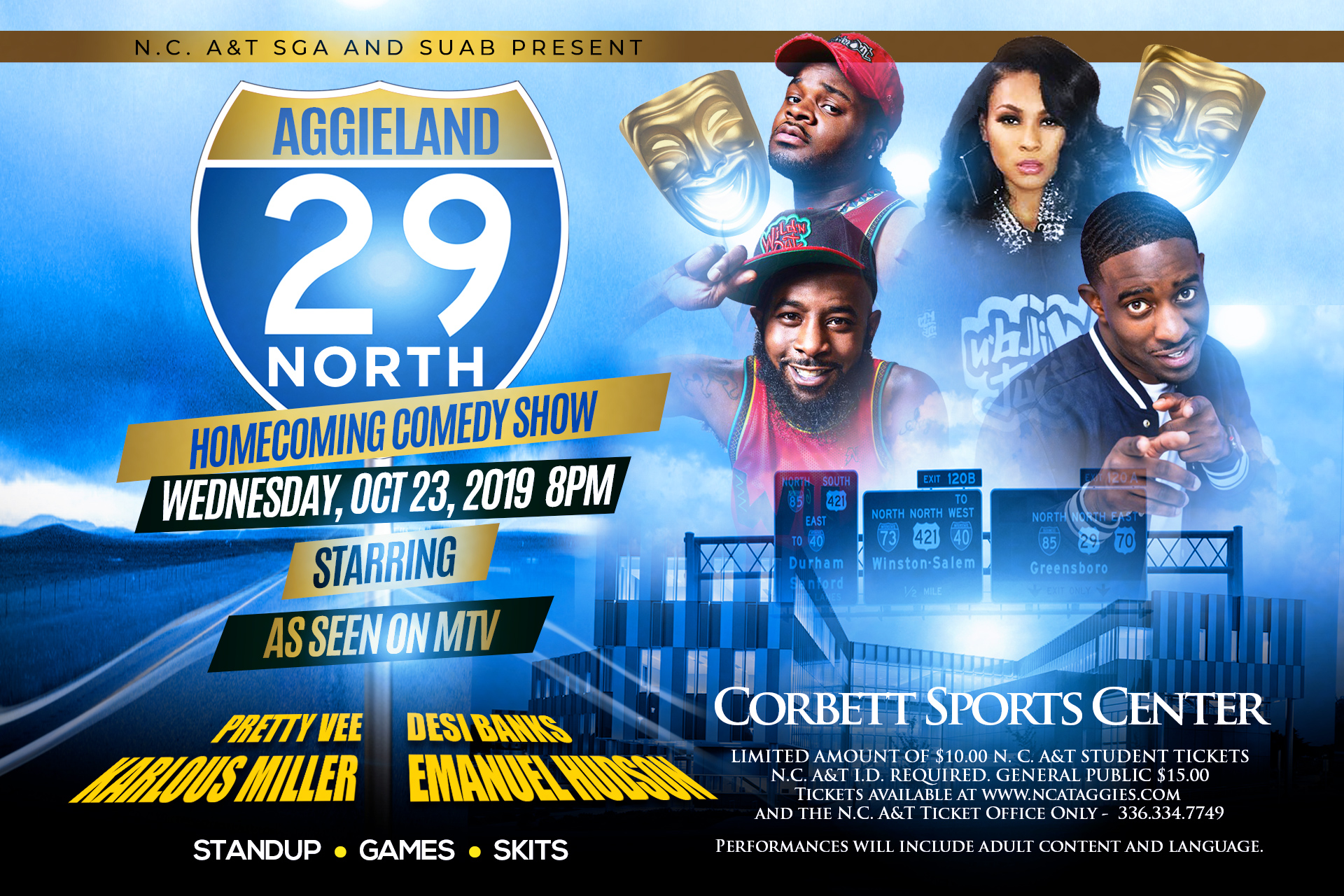 North Carolina A&T Homecoming Comedy Show with Karlous Miller, Emmanuel Hudson, Desi Banks, and Pretty Vee