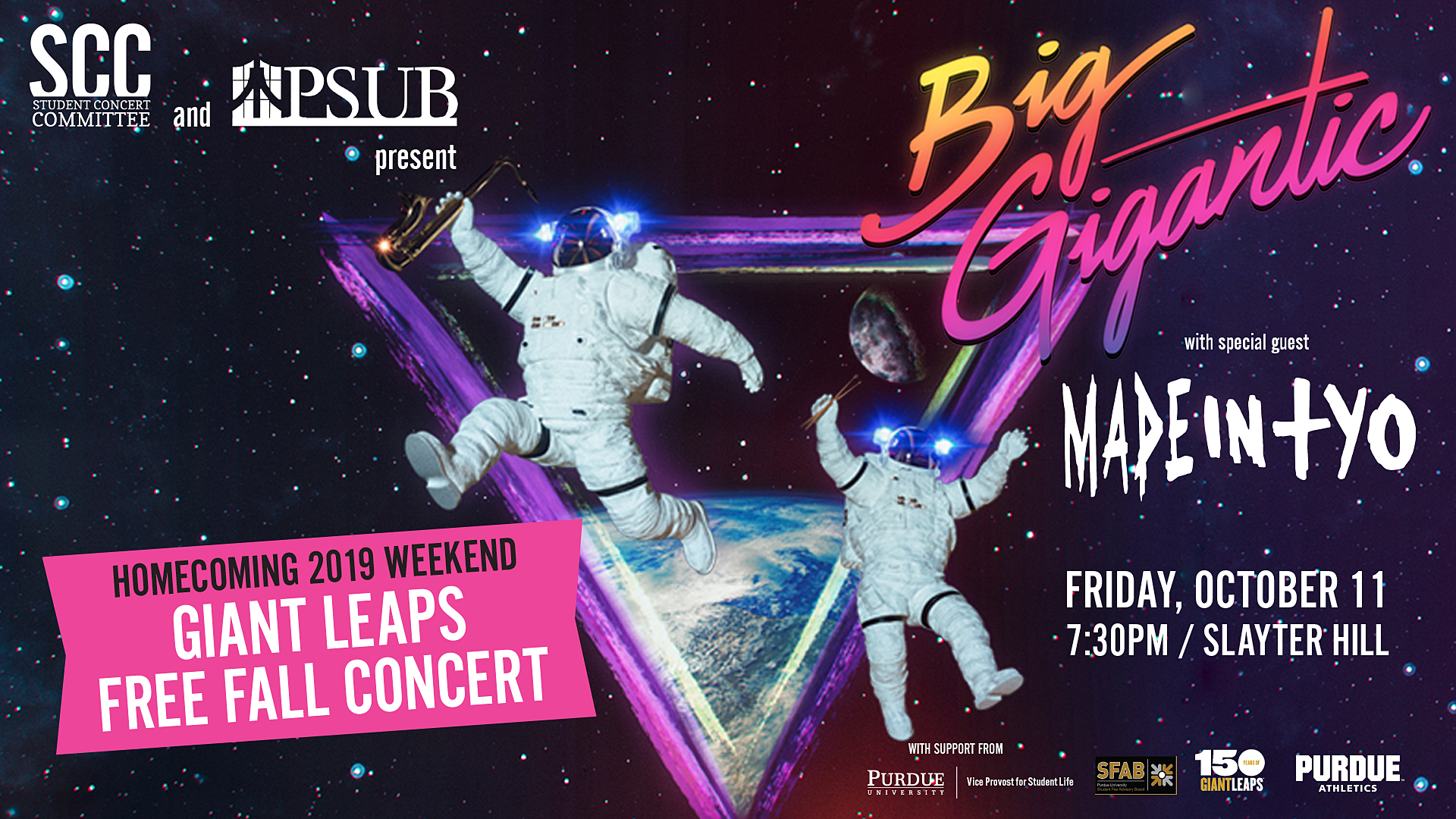 Purdue University presents Homecoming 2019 with Big Gigantic ft. MadeInTYO